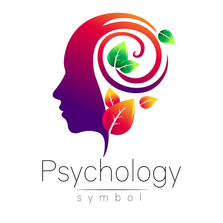 Illustration pour Modern head Logo sign of Psychology. Profile Human. Green Leaves. Creative style. Symbol in vector. Design concept. Brand company. Violet color isolated on white background. Icon for web, logotype. - image libre de droit