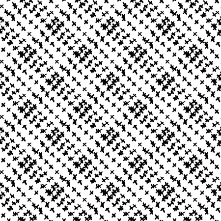 Vector seamless pattern with brush stripes plaid. Black color on white background. Hand painted strokes texture. Ink geometric elements. Fashion modern style. Endless fabric check print.