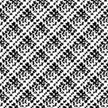Vector seamless pattern with brush stripes plaid. Black color on white background. Hand painted strokes texture. Ink geometric elements. Fashion modern style. Endless fabric check print