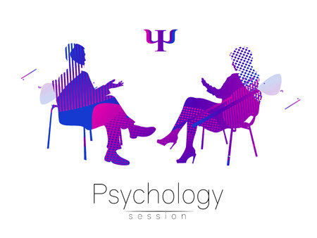 Illustration pour The psychologist and the client. Psychotherapy. Abstract geometric shapes. . Fluid style. Psychological counseling. Man woman talking while sitting. - image libre de droit