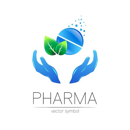 Pharmacy vector symbol with green leaf and hands