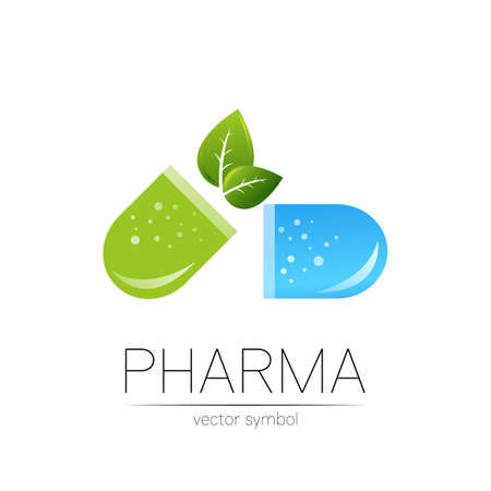 Pharmacy vector symbol with green leaf for pharmacist, pharma store, doctor and medicine. Modern design vector logo on white background. Pharmaceutical blue icon logotype tablet pill capsule. Health