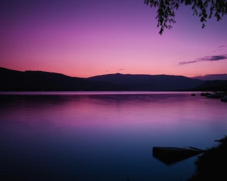 Pink sunset at Okanagan Lake