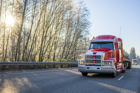 Freight transport by semi trucks in America - the main type of logistics. Red big rig semi trucks convoy with cargo on flat bed semi trailers running on highway with winter frosty trees with sun