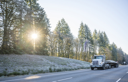 Photo pour Big rig day cab professional bonnet powerful semi truck transporting covered commercial industrial cargo on flat bed semi trailer and running on winter road with frost grass and trees on roadside - image libre de droit