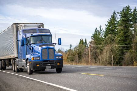 Photo for Big rig blue classic powerful diesel long haul semi truck transporting frozen commercial cargo in corrugated refrigerated semi trailer running on the road with green trees forest on the road side - Royalty Free Image