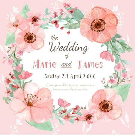 Foto de Flower wedding invitation card, save the date card, greeting card - Imagen libre de derechos