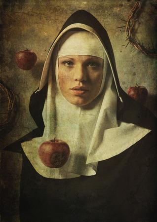 The temptation to sin nuns.  Apple of temptation to sin.