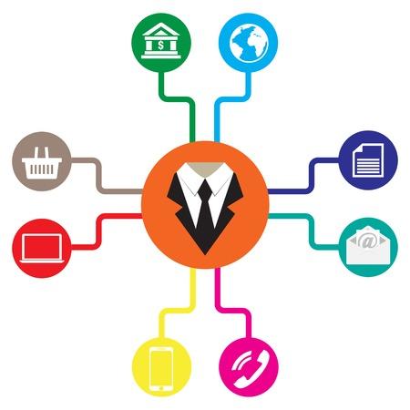 Foto de Business icons flat vector illustration Communication - Imagen libre de derechos