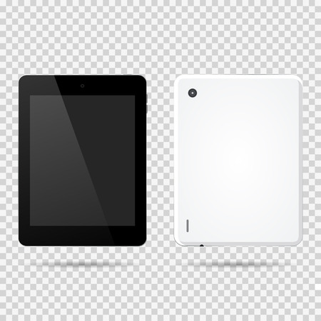 Tablet front, backside vector illustration