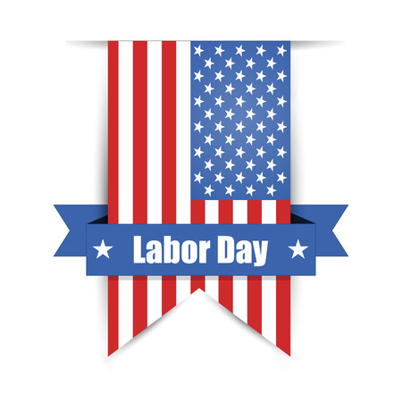 Flag of America to Labor Day label