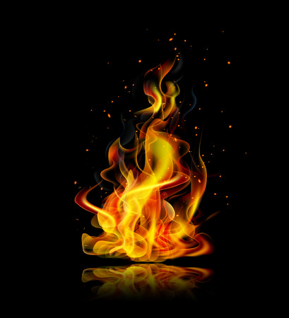 Illustration for Realistic fire with reflection on a black background - Royalty Free Image
