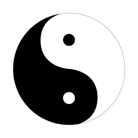 Ilustración de Yin Yang icon flat on a white  background - Imagen libre de derechos