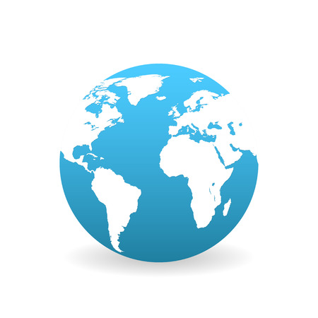 Earth in flat style with shadow on  white background