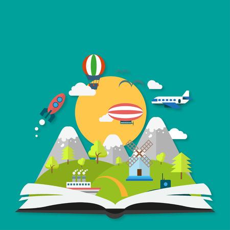 Illustration pour Imagination concept with book and a  shadow - image libre de droit
