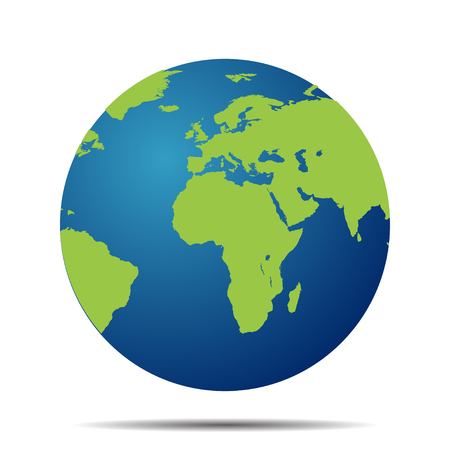 Ilustración de Map of the world globe with shadow on  white background - Imagen libre de derechos
