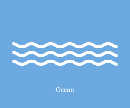 Foto de Waves icon ocean on a blue background - Imagen libre de derechos