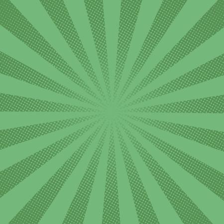 Illustration pour Retro rays comic green background raster gradient halftone pop art style - image libre de droit