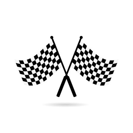 Ilustración de Racing flag finish with shadow on white background, icon - Imagen libre de derechos