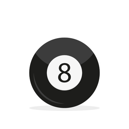 Illustration pour Billiard ball 8 in flast style with shadow, vector - image libre de droit