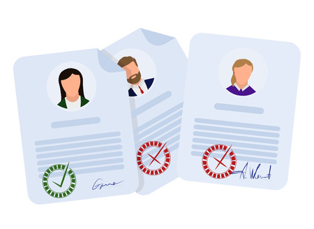 Illustration pour Document accepted and rejected, in flat style on a white background, vector - image libre de droit