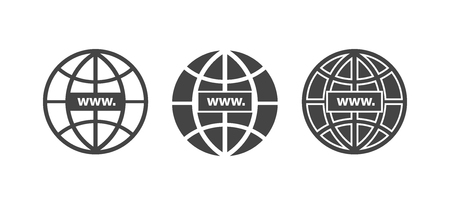 WWW icon. Website icon. Host server icons. In globe style. WWW icons in flat and linear style. vector illustration