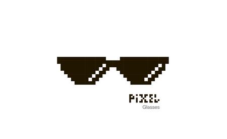 Illustration pour Pixel glasses. Sunglasses pixel. Glasses icon. Illustration in pixel style. Vector - image libre de droit