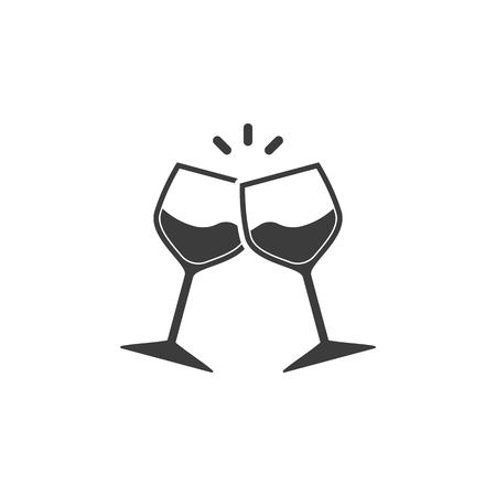 Illustration pour Champagne glasses icon. Glasses with wine in flat style. Vector illustration - image libre de droit