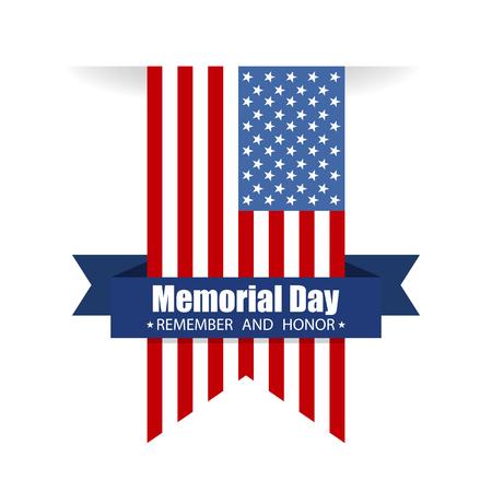 Illustration pour Memorial day. Remember and honor text. Vector illustration - image libre de droit