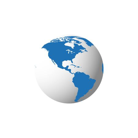 Illustration pour Blue globe modern 3d illustration with on white background. Global concept. Planet earth cartography. - image libre de droit