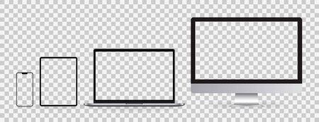 Illustration pour Realistic set of Monitor, laptop, tablet, smartphone on transparent background. Mockup set of device. Vector illustration - image libre de droit