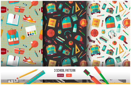 Illustration pour Vector set of 3 school seamless pattern. Back to school illustration on notebook paper background. High school object college items in flat style. - image libre de droit
