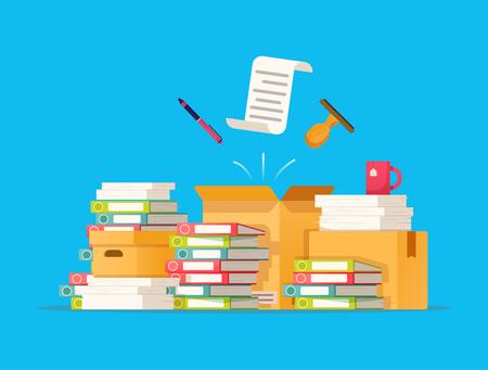 Illustration pour Carton boxes bureaucracy, paperwork, office vector illustration in flat style. - image libre de droit
