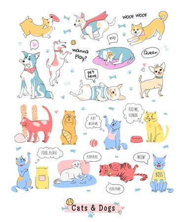 Photo pour Collection of funny dogs abd cats. Doodle icons of domestic animals. Vector illustration in line style. Poster  template, set of stickers. - image libre de droit