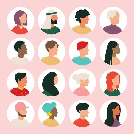 Illustration pour Men and women avatar characters collection. Various nationality. Blond, brunet, african american, european, asian, muslim. - image libre de droit