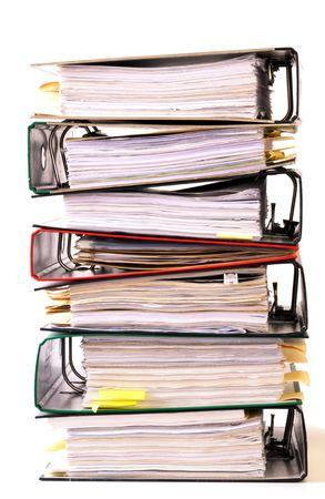 Photo pour high stack of folders isolated on a white background - image libre de droit