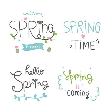 Illustration pour Set Spring time lettering cartoon season greeting cards (vector illustration): Special Hand drawn quotes - image libre de droit