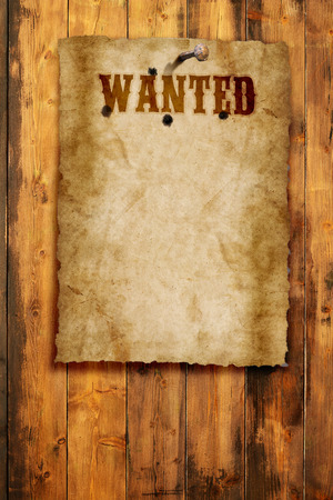 wild west wanted poster on wooden wall