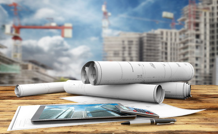 Photo for blueprints, tablet, calculator and pen in a construction site - Royalty Free Image