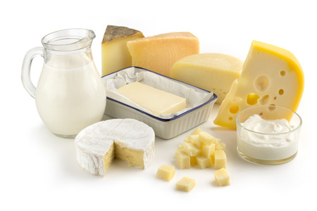 Photo pour assortment of dairy products isolated on white background - image libre de droit