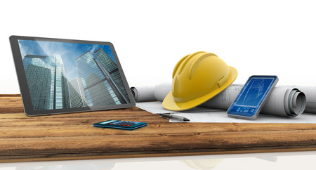 Photo for tablet, smartphone, safety helmet and blueprints on wooden table - Royalty Free Image