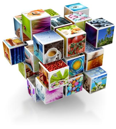 Foto de cubic structure with colorful pictures isolated on white background - Imagen libre de derechos