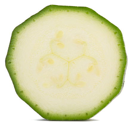 one slice of zucchini isolated on white