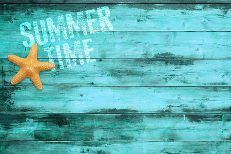 sea star and summertime word printed on turquoise wooden plank