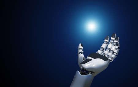 Foto de open robotic hand holds a point of light - Imagen libre de derechos