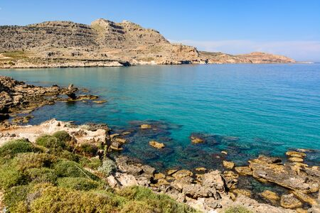 Photo pour Agathi bay with crystal sea water, one of the best places on Rhodes island, Greece - image libre de droit