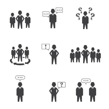 Illustration pour Set Of 9 Simple People Group Icons - image libre de droit