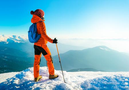 Photo pour Hiking in the mountains. Active sport concept - image libre de droit