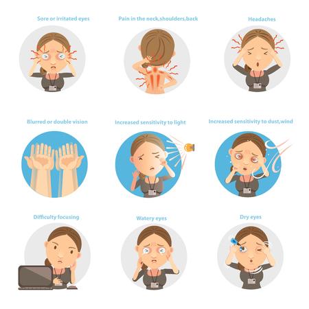 Vektor für Symptoms of Eye Fatigue vector illustration. - Lizenzfreies Bild