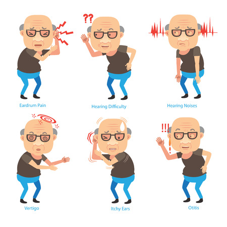 Illustration for Old man ear problems cupping his ear having difficulty hearing. Cartoon vector illustration - Royalty Free Image